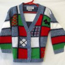 Miniwaves Girl's Medium Argyle-style Long Sleeved Button Front V Neck Sweater