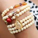 Multi-element multi-layer gold-plated white clam bracelet pendant amulet