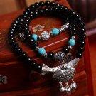 Tibetan silver longevity lock  spar poisonivy Lucky transport multilayer bracelet