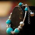 Natural turquoise bead bracelet Tibetan silver receptacle
