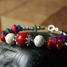 Tibetan silver hollow ball of red coral lily gravel bone bracelet