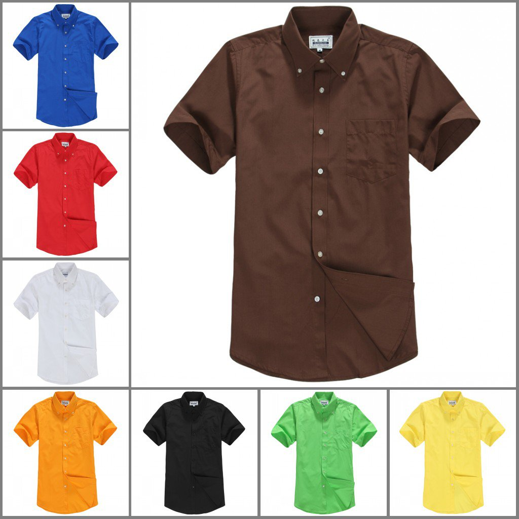 2014 Mens candy colored short-sleeved shirt 9 color choice S-2XL YF44