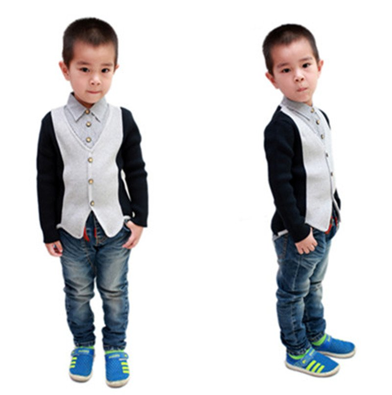 2014 new style striped children cotton knit shirts tops 3-6years YF47