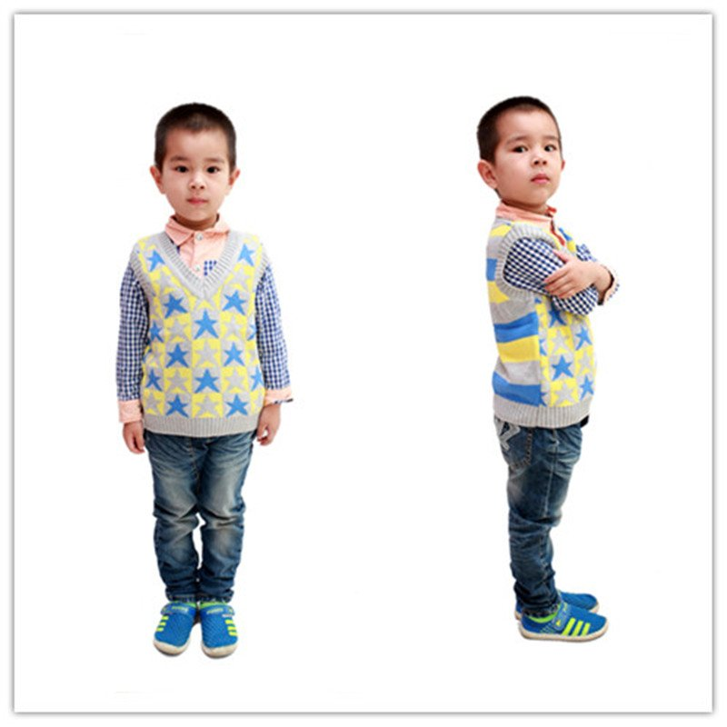 2014 five-pointed star style children cotton knit vest 1-4 years YF48