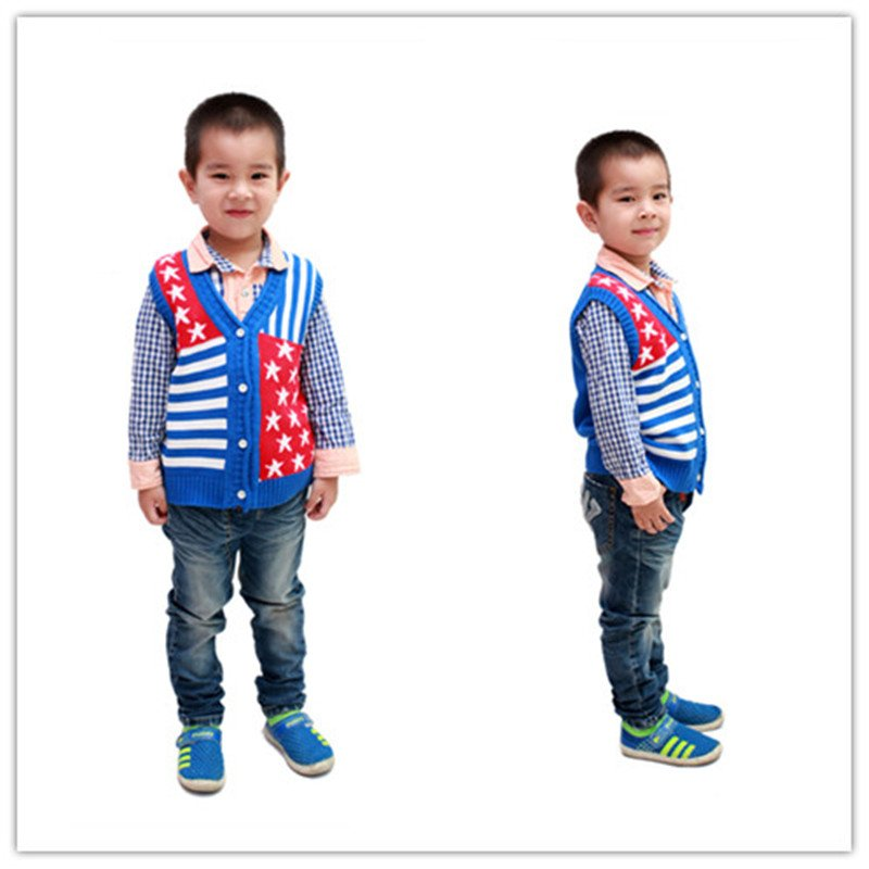 2014 five-pointed star style children cotton knit vest 1-4 years YF51