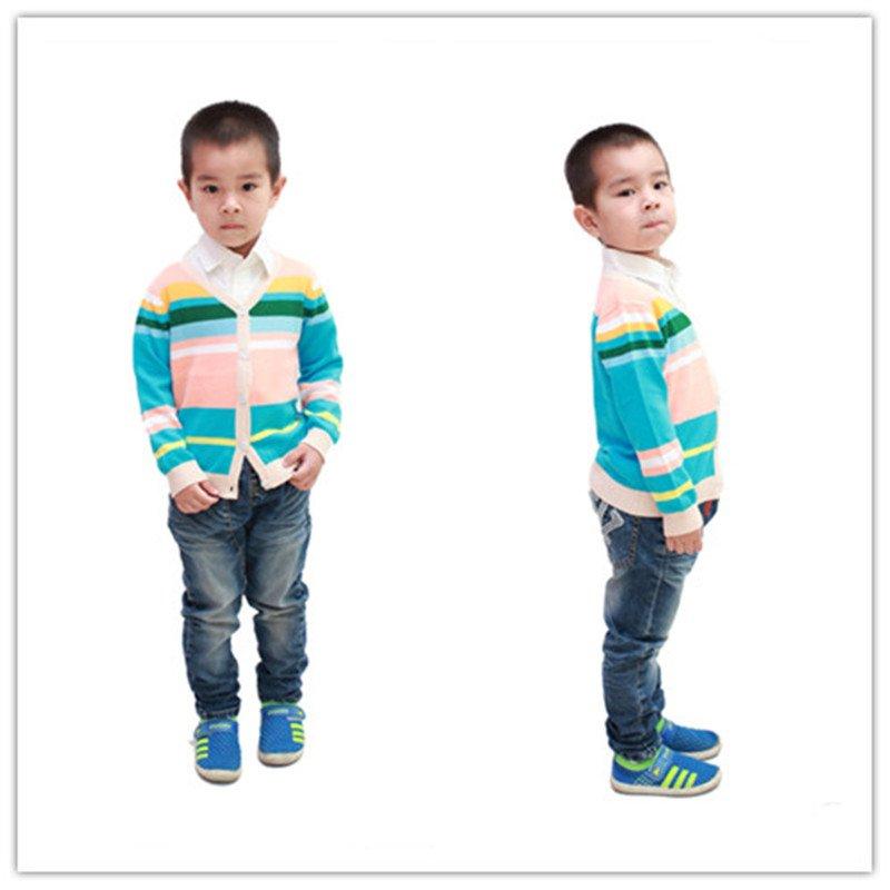 2014 striped style children cotton knit cardigan 3-6 years YF53