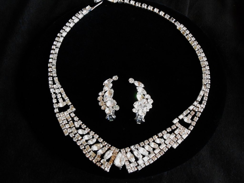 Kramer New York Clear Rhinestone Necklace and Coordinating ERs