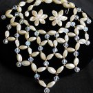 Faux Pearl and Crystal Bib Necklace and ER Set