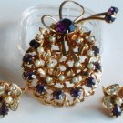 Purple Rhinestone and Faux Seed Pearl Brooch and ER Set