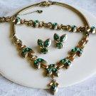 Signed Barclay Green Necklace, Bracelet and ER Set