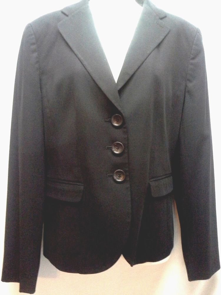 Ann Taylor 8 Black Blazer Three Button Front Lined Career