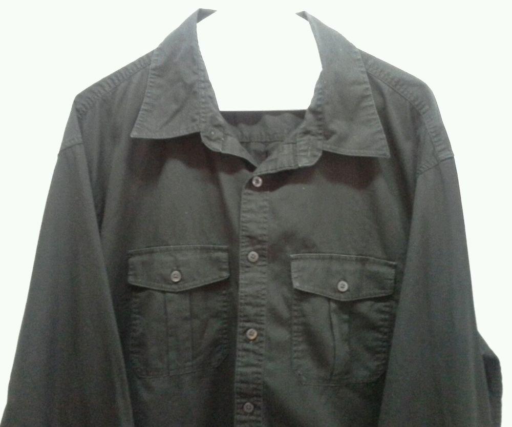 Van Heusen Mens size Xlarge shirt Black Long sleeve Cotton 17-17.5