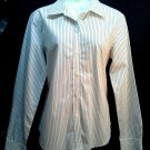 Ann Taylor Shirt 8 White Black Stripe LS Career