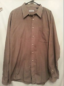 Barneys New York Mens Shirt 17.5 Xlarge Brown White Imported Cotton