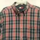 Tommy Hilfiger Xlarge Mens Shirt Red Blue Plaid Cotton