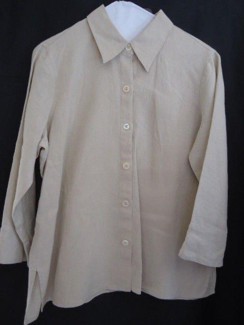 Liz Claiborne Shirt Linen Tan Medium Top