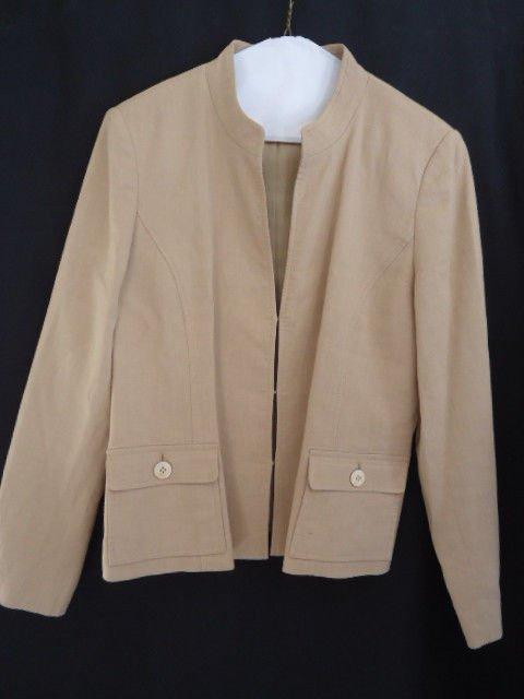 Talbots Blazer Linen Tan 8P Jacket Coat Petite