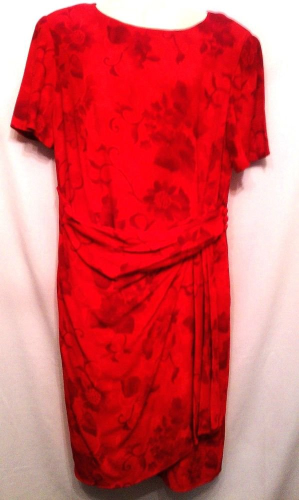 David Warren Dress Red Floral 10 Womens Rayon
