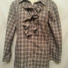 Lauren Ralph Lauren Shirt Large Black Plaid Ruffle