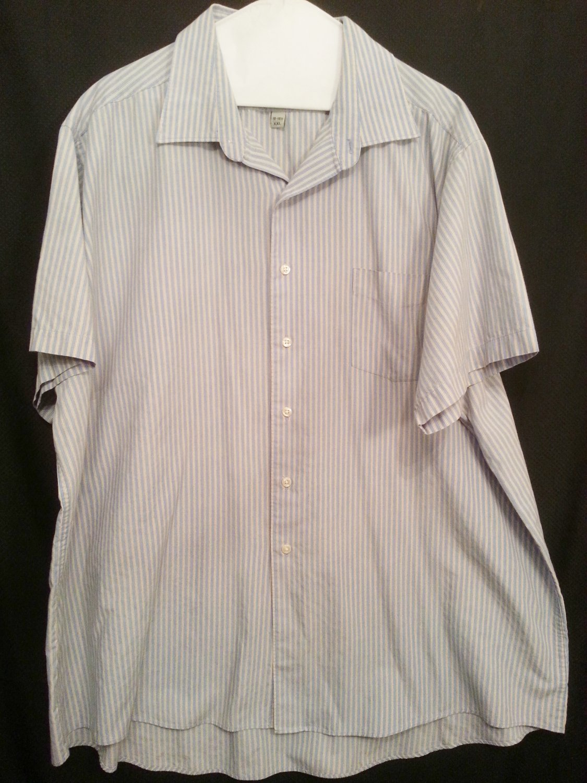David Taylor mens XXlarge Blue Stripe Shirt wrinkle resistant
