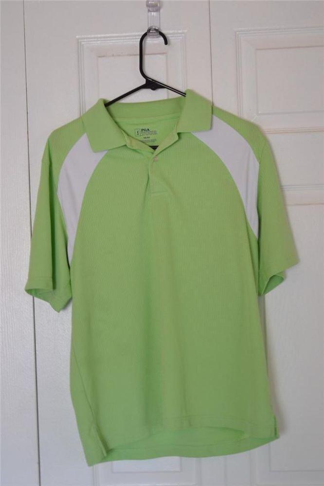 PGA TOUR brand GOLF/POLO SHIRT Mens SZ M MEDIUM LIME GREEN & WHITE Polyester