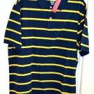 Merona Classic Fit Blue w/ Yellow Stripes 100% Cotton Polo Shirt Size XL NWT