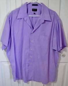 Arrow Short Sleeve Purple Men's Dress Shirt Size XXL Pin Stripe Poly/Cotton