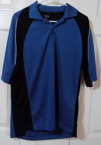 Mens Golf Polo Shirt IZOD Classic Cool FX Shirt Blue Black Size Med Polyester