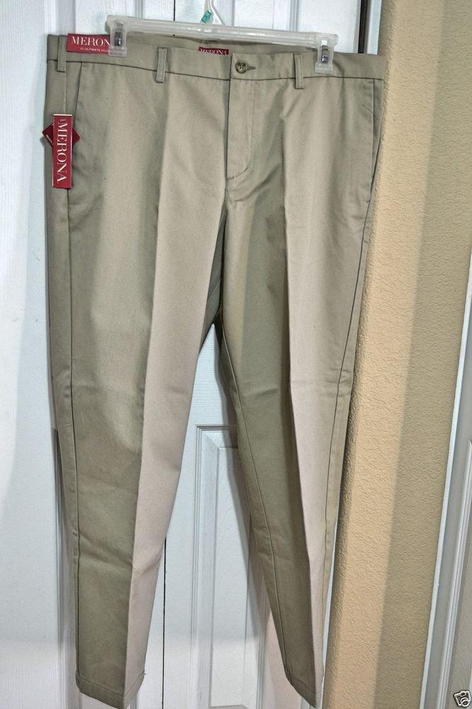 Merona 40 x 30 Men's Classic Fit Flat Front Khaki Slacks Nano Tex 100% Cotton
