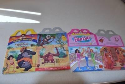 McDonalds Happy Meal Boxes Lot of 7 Barbie Jungle Book Animal Kingdom Hot Wheels