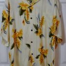 Ho Aloha Floral Hawaiian Camp Shirt Big Size 2XL Made in Hawaii Yellow Floral