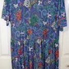 Maggie Lawrence Full Length Plus Size 22/24W Blue Floral Print Vee Neck