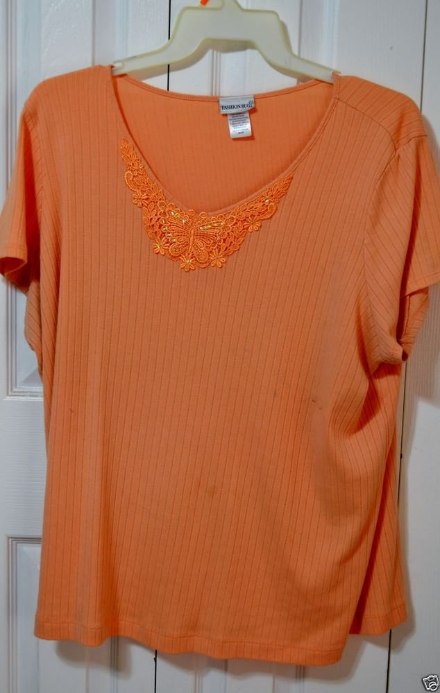 Fashion Bug Salmon Cap Sleeve Embellished Butterfly Neckline Plus Size 26/28 Top
