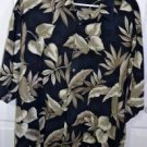 Pierre Cardin Men's Floral Pattern Dark Blue 100% Rayon Hawaiian Shirt Size XL