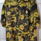 Hilo Hattie Hawaiian Original Shirt Black & Yellow Floral Size XL Made in Hawaii