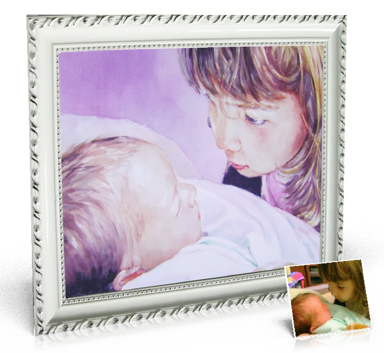 Watercolor Painting 20x24 inch, 1 person included - photo into painting