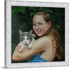 """Photo into oil painting, 1 Pet and 1 Person, 20""""x24"""", unframed - oil paintings from photos"""