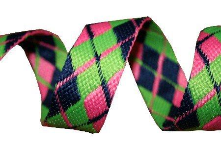 Blue, Green and Pink Reversible Argyle Belt