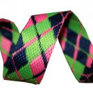 Blue, Green and Pink Reversible Argyle Belt
