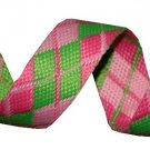 Green and Pink Reversible Argyle Belt