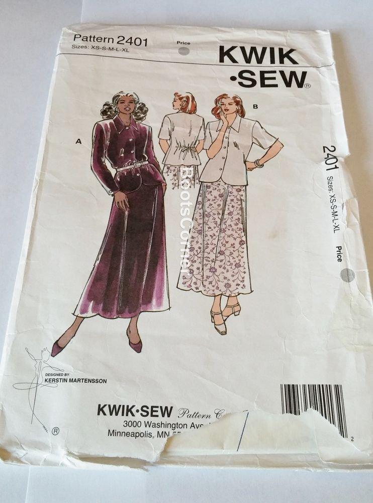 UNCUT Kwik Sew Sewing Pattern #2401 - Skirt & Blouse - Sizes XS, S, M, L, XL