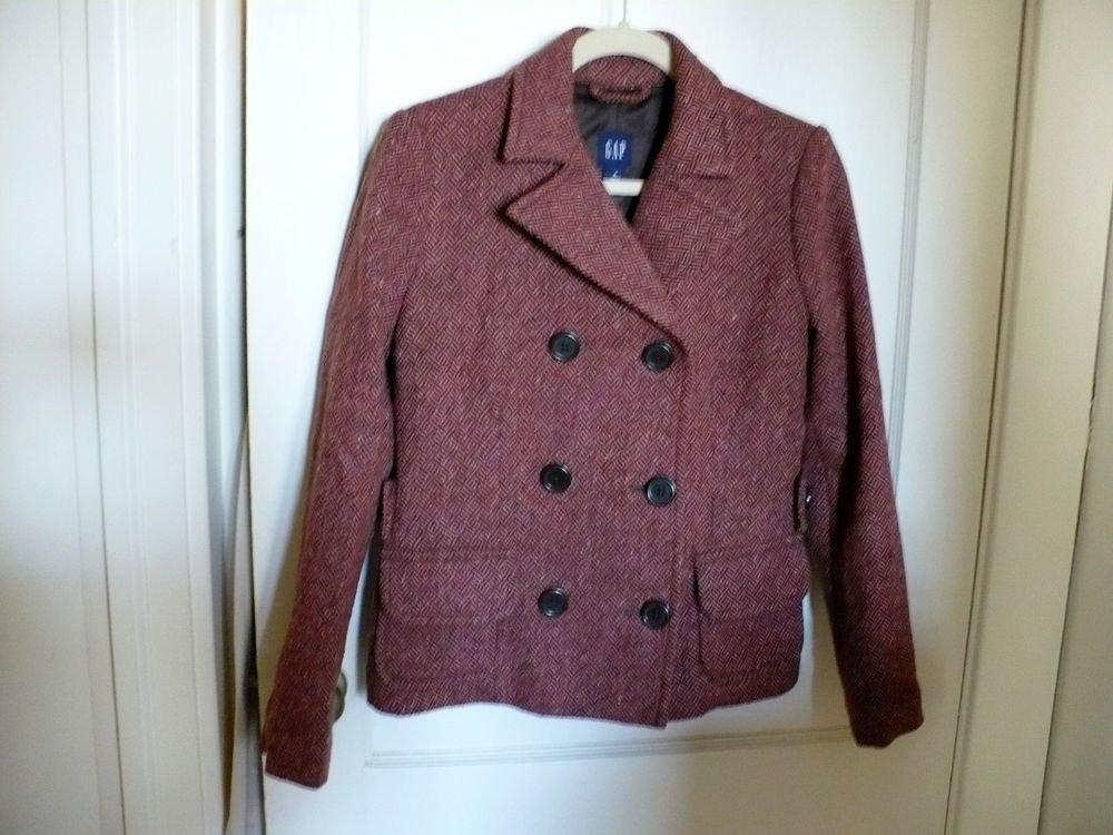 GAP Size 4 Womens Wool Red Brown Basic Jacket/Blazer Coat