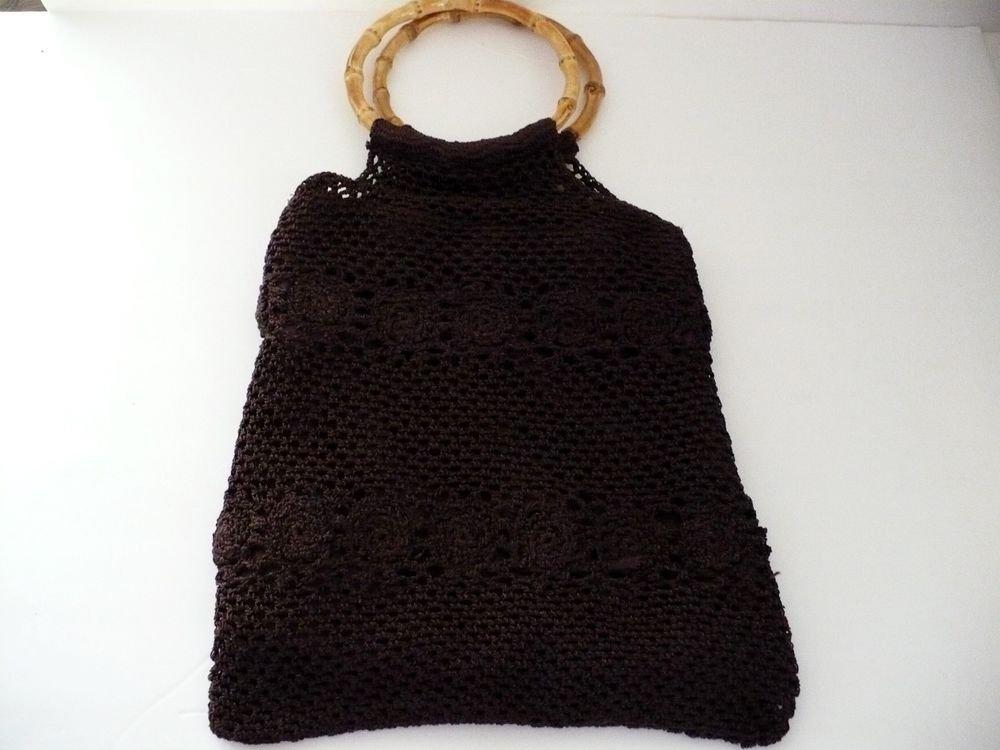 Crochet Handbag Baguette with Round Bamboo Handles Dark Brown 11 in. x 4 in.