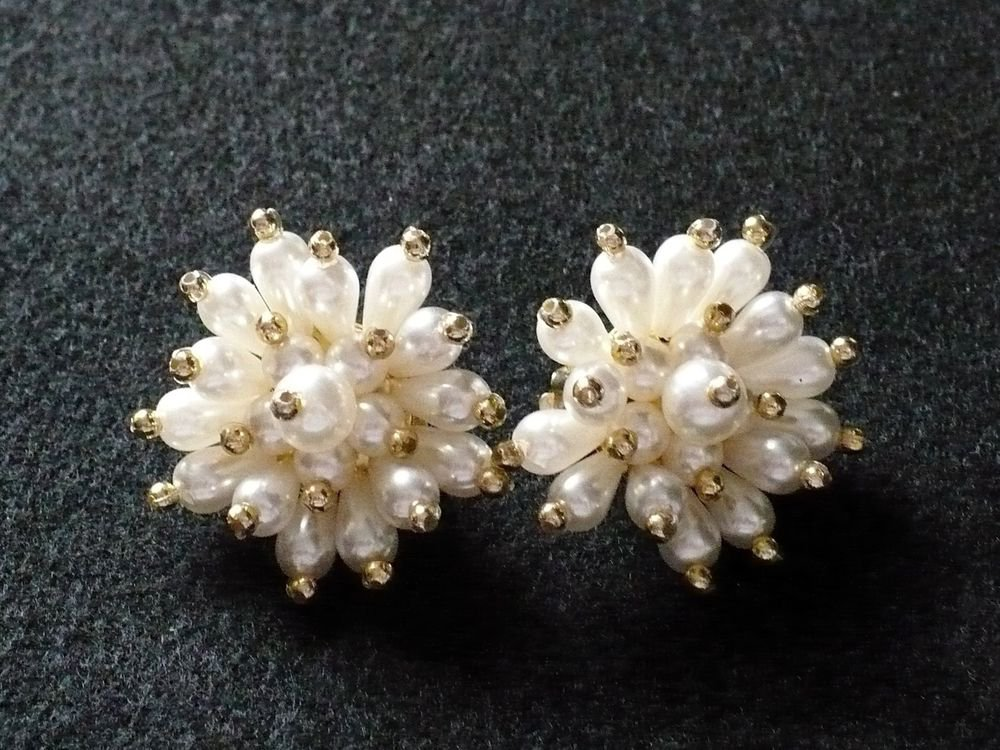 Snow White Drop Clip-on Cluster Earrings