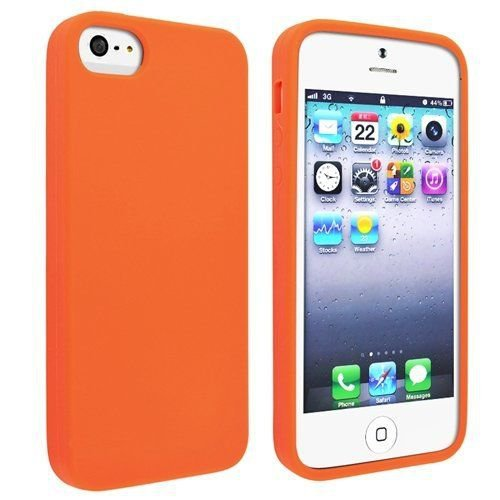 Silicone Fitted Skin Case Compatible With Apple iPhone 5 / 5S - Orange