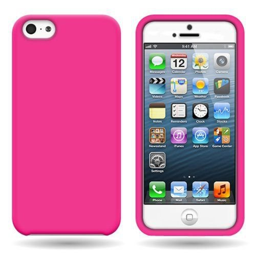 Silicone Fitted Soft Skin Case Cover for Apple iPhone 5 / 5S - Hot Pink