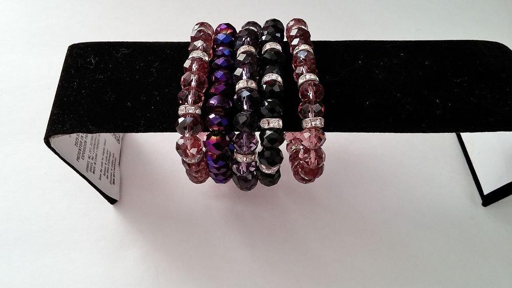 5 Gemstone Stretch Crystal Beads Bangle Cuff Bracelets