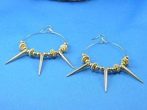 Gold Hoop Dangle Pierce Hook Earrings