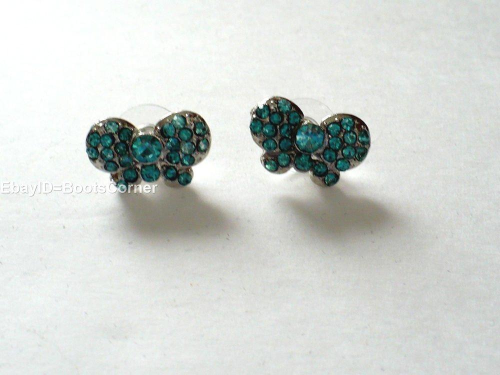 Green Bowtie Crystal Stud Earrings Surgical Steel Post