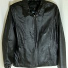 Jacklyn Smith Classic Black Leather Solid Basic Jacket Coat Size LG